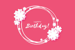 Cute Happy Birthday Paper cut Greeting card. Origami Floral background. Square frame for text. Vector Royalty Free Stock Photo
