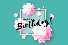 Cute Happy Birthday Paper cut Greeting card. Origami Floral blue background. Square frame for text. Vector Stock Images