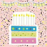 Cute happy birthday party card with cake and candles. Vector illustration Royalty Free Stock Images