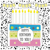 Cute happy birthday party card with cake and candles. Vector illustration Stock Images