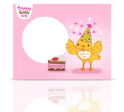 Cute Happy Birthday postcard template with a bird. Royalty Free Stock Image