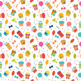 Cute Happy Birthday seamless pattern with colorful party element. S. Vector background for your design. Vector illustration Stock Images