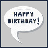 Cute Happy Birthday speech bubble message with dotted pattern. On trendy gray background Stock Illustration