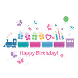 Cute happy birthday train card Royalty Free Stock Photo