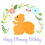 Cute happy blooming birthday card with squirrel  Stock Photo