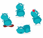 Cute happy blue hippopotamus in four poses. Vector cartoon Illustration of cute blue happy hippo Royalty Free Stock Photo