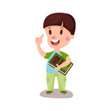 Cute happy boy with brown hair standing and holding a book, education and knowledge concept, colorful character  Illustratio Stock Images