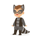 Cute happy boy dressed as a raccoon, kids carnival costume vector Illustration. Isolated on a white background Royalty Free Stock Image