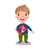 Cute happy boy standing and holding book, education and knowledge concept, colorful character  Illustration Royalty Free Stock Photography