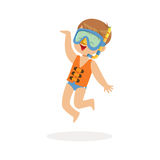 Cute happy boy wearing orange life jacket, snorkel and mask, kids summer vacation colorful character vector Illustration Stock Images