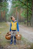 Cute boy with wild mushroom found in the forest Royalty Free Stock Photo