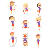 Cute happy boys doing sports set. Activity kids playing colorful cartoon Illustrations stock illustration