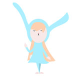 Cute happy bunny in light blue dress illustration on a white bac Royalty Free Stock Image