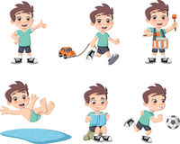 Cute happy cartoon boy playing. Stock Photography