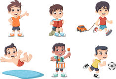 Cute happy cartoon boys playing Stock Photos