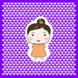 Cute Happy Cartoon Foxy Baby Girl. On Hearts background Royalty Free Stock Image