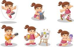 Cute happy cartoon girl playing. Royalty Free Stock Photos