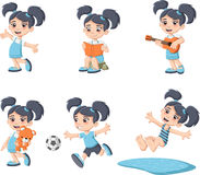 Cute happy cartoon girl playing. Stock Images