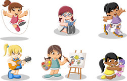 Cute happy cartoon girls playing. Stock Images