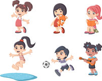 Cute happy cartoon girls playing. Sports and toys Stock Illustration