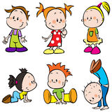 Cute Happy Cartoon Kids. Collection of cartoon characters of young children - boys and girls Stock Photos
