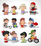 Cute happy cartoon kids. Playing Stock Photos