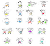 Cute happy cartoon kids Stock Images