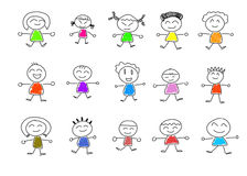 Cute happy cartoon kids Royalty Free Stock Images