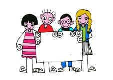 Cute happy cartoon kids Royalty Free Stock Photo
