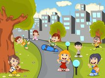 Cute happy cartoon kids playing in green park cartoon Stock Images