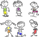 Cute happy cartoon kids,vector Royalty Free Stock Photos