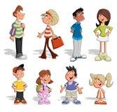Cute happy cartoon people. Group of cute happy cartoon people Royalty Free Stock Photo