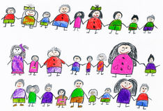 Cute happy cartoon people, collection of child drawing object on paper, hand drawn art picture Stock Photo