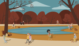 Cute happy cartoon people in the park Stock Photography