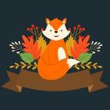 Cute happy cartoon red fox Autumn themed banner Stock Photos