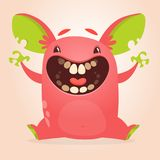 Cute happy cartoon red monster with big ears laughing. Halloween vector illustration.  Stock Image