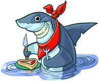 Cute Happy Cartoon Shark with Steak and Eating Utensils Stock Photography