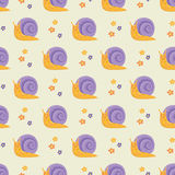 Cute happy cartoon snails seamless pattern. Background wallpaper Royalty Free Illustration