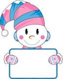 Cute Happy Cartoon Snowman Royalty Free Stock Photo