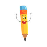 Cute happy cartoon yellow pencil character with hands up  Stock Image