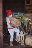 Cute happy child girl in christmas hat and sweater with basket of fir branches Stock Images