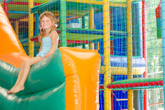 Cute happy child girl on playground Royalty Free Stock Images