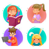 Cute happy children boy and girls characters set cartoon design vector illustration Stock Images