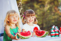Cute happy children playing in spring filed Stock Photography