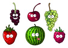 Cute happy colorful cartoon fruits and berries Stock Images