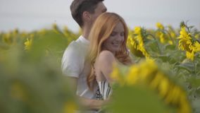 Cute happy couple dancing together on the sunflower field. Adorable girl with her boyfriend resting outdoors. Connection. With nature. Slow motion stock video
