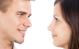 Cute happy couple looking at each other Stock Images