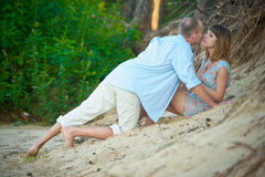 Couple a romantic time together on nature Royalty Free Stock Images