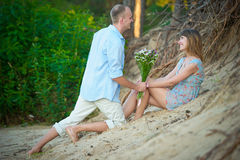 Couple a romantic time together on nature Royalty Free Stock Photos
