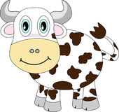 Cute Happy Cow. Cute Cartoonish Smiling White and brown  Happy Cow Stock Photos